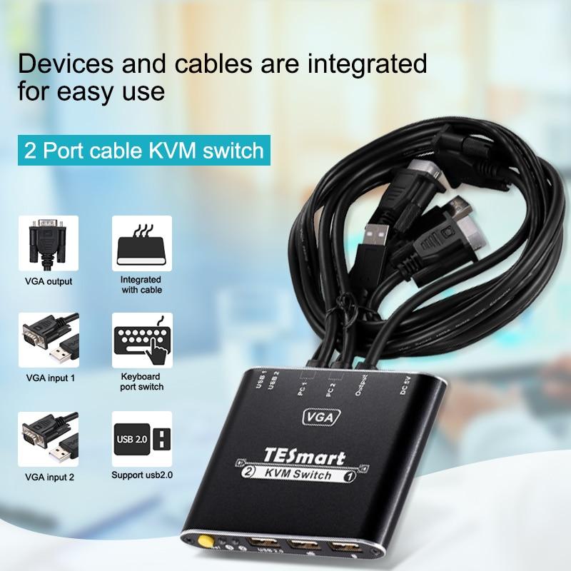 VGA KVM Switch 2 Ports WIth Cables KVM 2 Ports VGA Switch 2x1 Supports 1080P@60Hz USB 2.0 Device Control Up To 2 PCS VGA 2x1