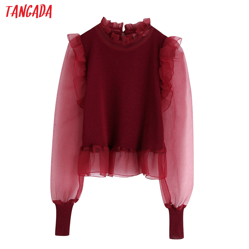 Tangada Korea Chic Women Red Slim Sweater Mesh Sleeve Ruffles Vintage Ladies Crop Knitted Jumper Tops BE300
