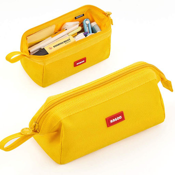 Large capacity pencil case simple student stationery box Solid color pencil case stationery bag Multifunctional storage bag gift simple camouflage pencil case small fresh large capacity pen box student student stationery bag pencil bag orange