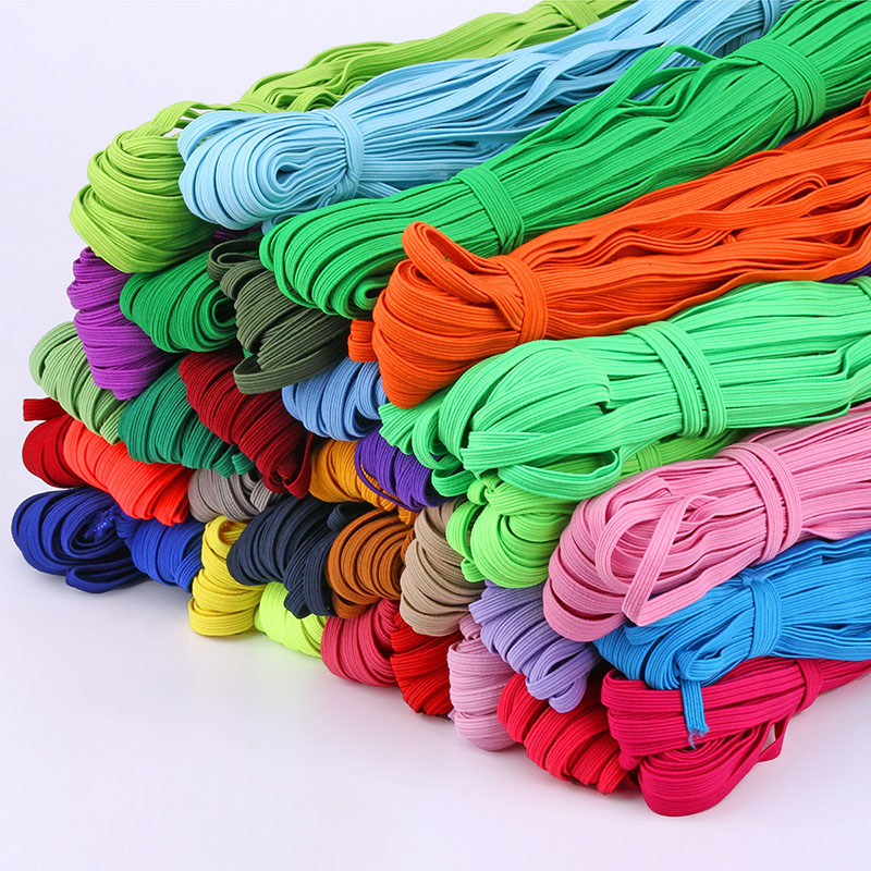 Multi-color 6mm 30 Meters Flat Elastic Band Colorful High Elasticity Stretch Rope Tape Elastic Ribbon For Garment Sewing image