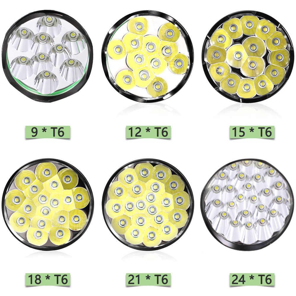 En parlak dünya T6 * 24 su geçirmez LED el feneri 5 modları LED el feneri taktik el feneri Linterna taşınabilir lamba ışığı