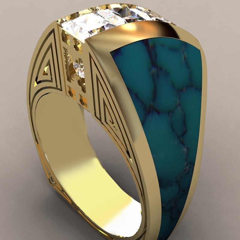 2019 새로운 블루 화이트 지르콘 스톤 링 남성 여성 옐로우 골드 웨딩 밴드 쥬얼리 약속 약혼 반지 남성과 여성을위한