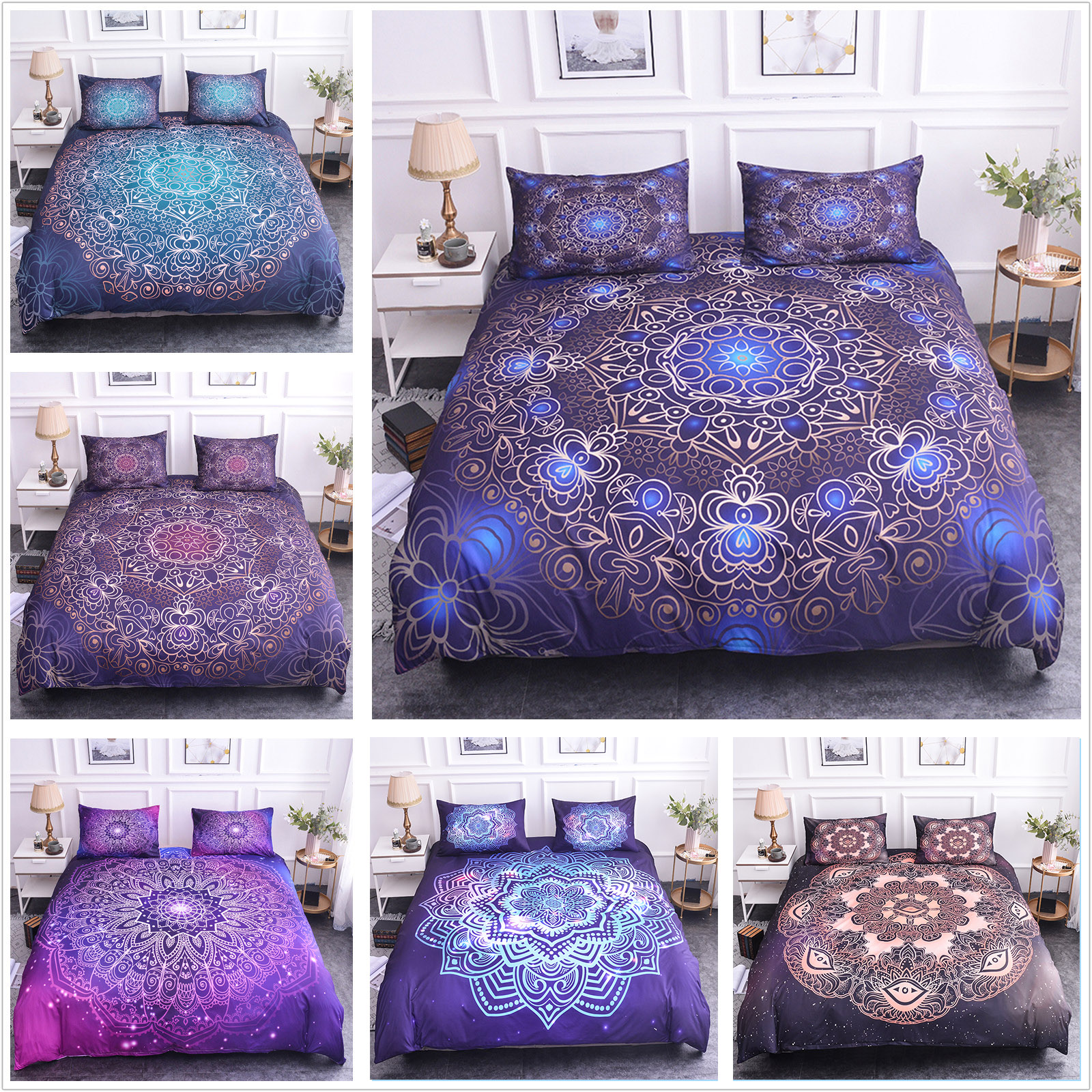 Luxury Bedding 3D Floral Print Bedding Set Bed King Duvet Cover Set Quilt Cover Queen Size Comforter Sets