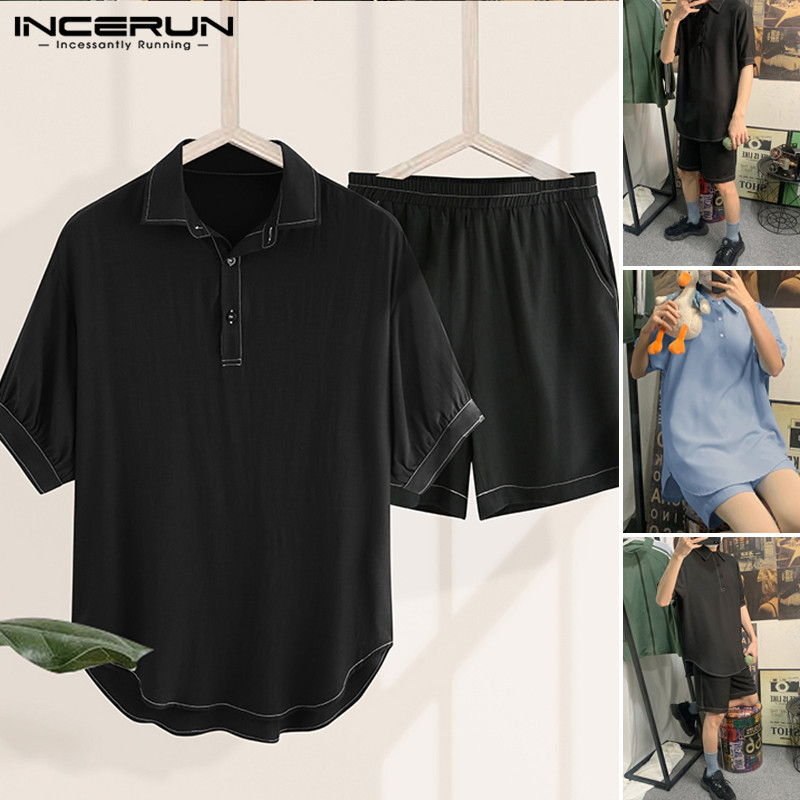 INCERUN Men Leisure Suits Short Sleeve Shirts Short Bottoms Set Casual Turn Down Collar Solid Color Suit Man Fashion Chic Sets