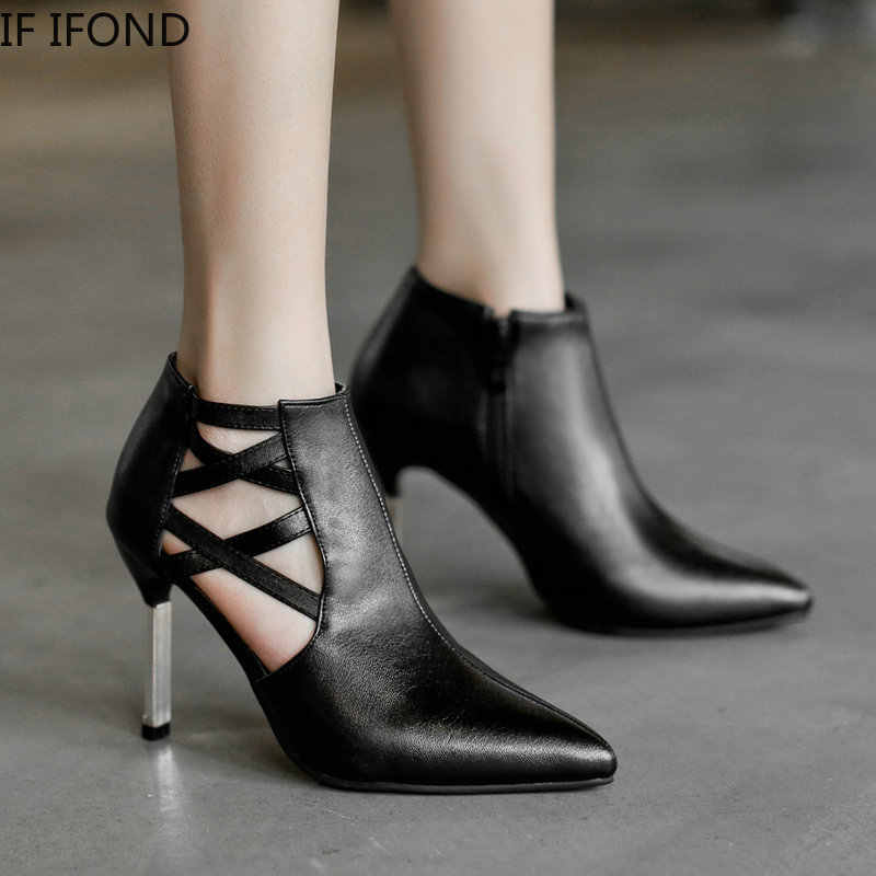 IF IFOND 2020 Fashion Pointy Toe Retro Casual Shoes Western Cowboy Boots Women PU Leather High Heels slip on Booties Ankle Boots
