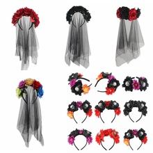 Sugarbay Day of Dead pałąk welon panny młodej przebranie kostiumu nakrycia głowy na Halloween akcesoria imprezowe czarny z kwiatami róży Hairband tanie tanio CN (pochodzenie) Poliester WOMEN Dla dorosłych Hairbands Moda Floral FG0909121