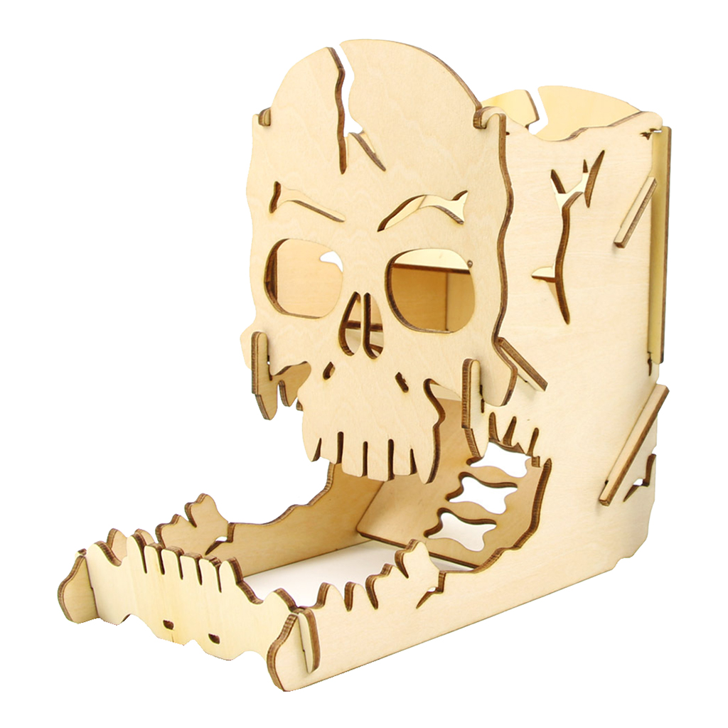 Dice Tower And Tray - Wooden Skull Carving Dice Roller For RPG D&D Board Games