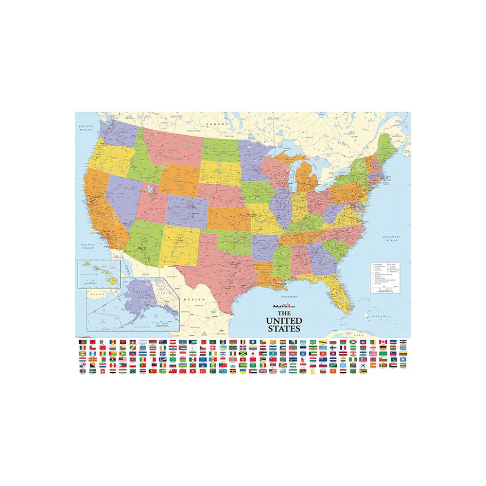 150x100cm Non-woven Map Of The United States With National Flags Detailed American Map For Culture And Education image