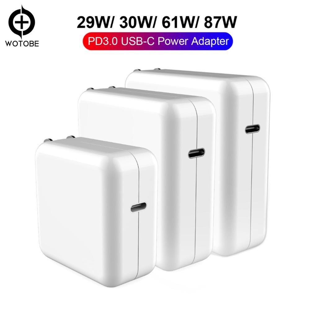 Adaptateur secteur pour USB-C 18W 30W 61W 87W QC3.0 USB PD3.0 chargeur mural pour MacBook Pro/Air iphone 11/11pro/X/8 iPad Pro S8/S9/S10, etc.