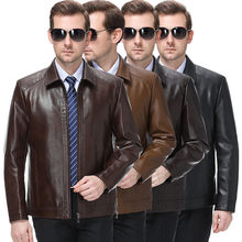 and winter leather coat men's Plush thin men's leather jacket jacket middle aged and old men's sheep leather coat men(China)