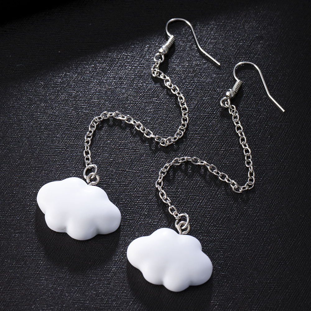 Fashion Korea Style White Dangling Earrings For Women Cute Simple Cloud Earrings With Chain SImple Ladies Ears Jewellery