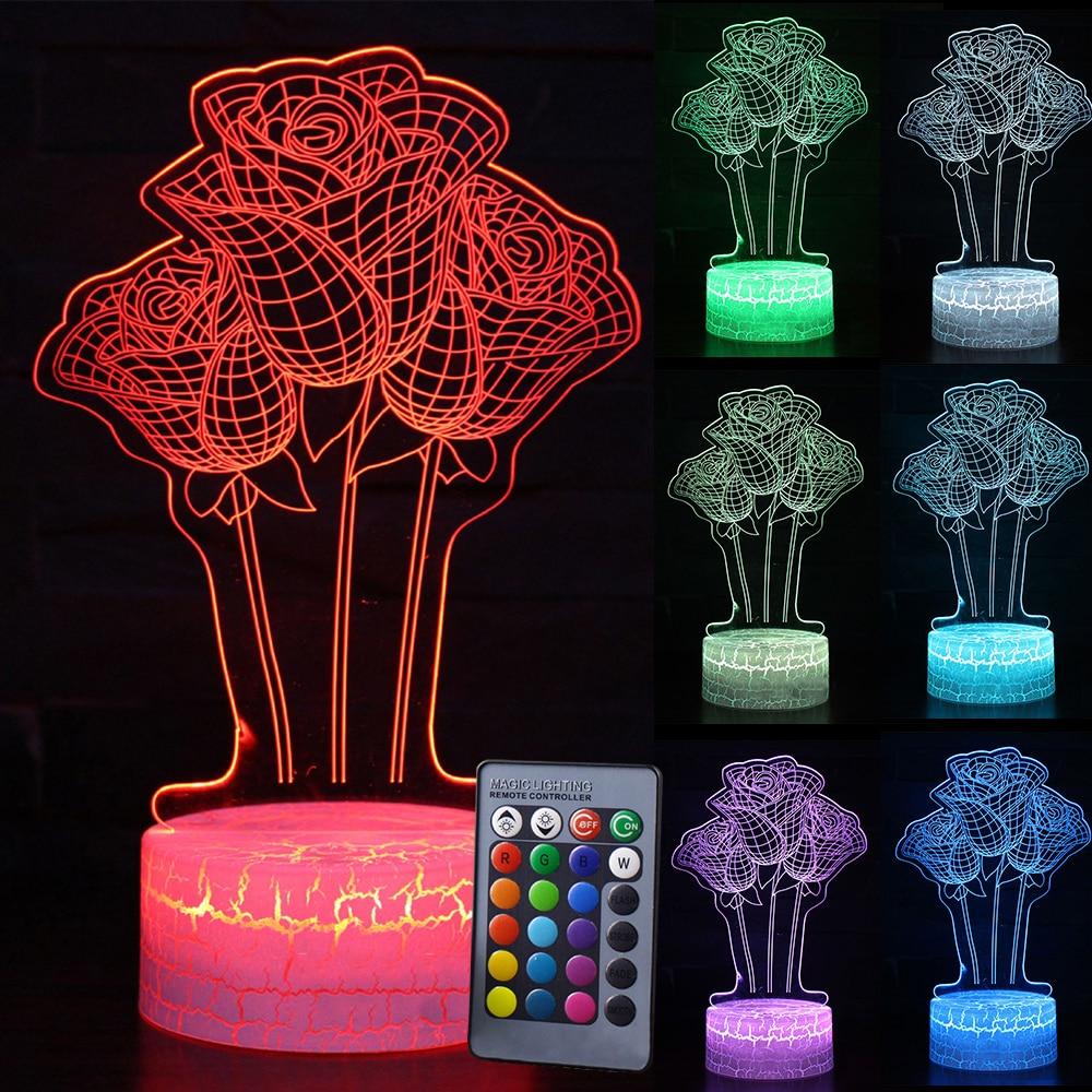 Touch Night Light 3D LED Rose Night Light Romantic Gift ForGirl Rose Flower Night Light Home Decoration D30