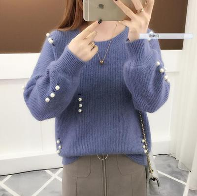Makuluya Women's Loose Casual Simple O-Neck Stripe Turtleneck Stretchy Elasticity Slim Knitted Long Sleeve Pullover Sweaters L6