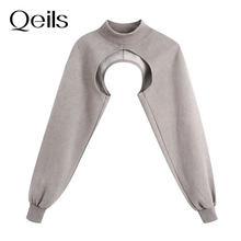 Женский утепленный Свитшот Qeils, асимметричный укороченный пуловер с высоким воротником и длинным рукавом, в винтажном стиле, 2021