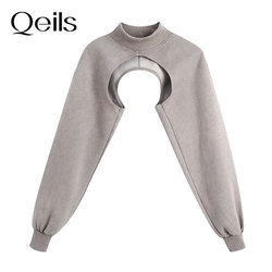 Qeils Women 2021 Fashion Arm Warmer Asymmetric Cropped Sweatshirt Vintage High Neck Long Sleeve Female Pullovers Chic Tops