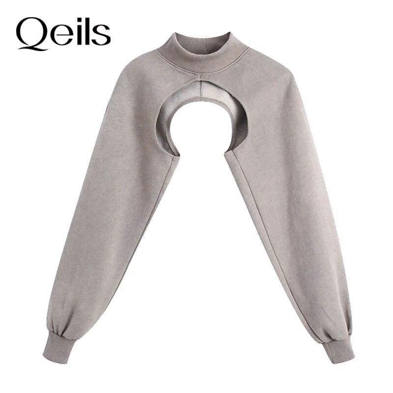 Qeils feminino 2021 moda braço mais quente assimétrico recortado camisola do vintage gola alta manga longa feminino pullovers chiques topos