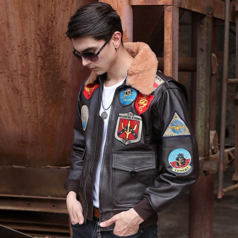 2020 Brown Men Military Pilot Jacket Europe Size XXL Genuine Thick Cowhide TOP GUN Aviator Leather Coat FREE SHIPPING