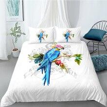 Parrot Bedding Set King Artistic Fashionable 3D Fresh Duvet Cover White Queen Twin Full Single Double Unique Design Bed Set цена 2017
