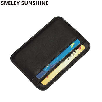 Genuine Leather Card Holder Slim Business id Credit Case Thin Small Wallet for men Cardholder Sticker black - discount item  65% OFF Wallets & Holders