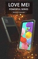 Funda de teléfono para Samsung Galaxy A51, A71, 5G, 4G, LOVE MEI, carcasa de Metal a prueba de golpes y agua para Galaxy A41 con cristal