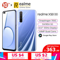 Original realme X50 5G Moblie Phone 8GB 128GB 6.4'' Snapdragon 765G 64MP Quad Cam Cellphone OPPO VOOC 30W Fast Charge