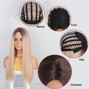 Image 5 - AISIBEAUTY Synthetic Womens Wig Omber Blonde Long Straight Wig High Temperature Fiber Natural  Hair for African American Women