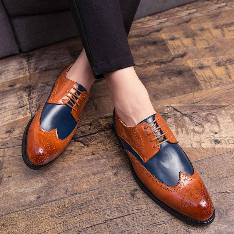 Klassieke Patchwork Bullock Business Schoenen Mannen Designer Formele Kleding Schoenen Mannen Kleding Formele Schoenen Big Size 47 A57-51