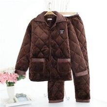 Flanela masculina inverno grosso pijama masculino grosso manga longa pijamas casual inverno outono lã coral sono 2 pc/set