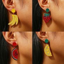 4 Styles Fruit Earrings Strawberry Watermelon Lemon Banana Earings For Women 2019 Charm jewelry Party Prom Accessories Korean