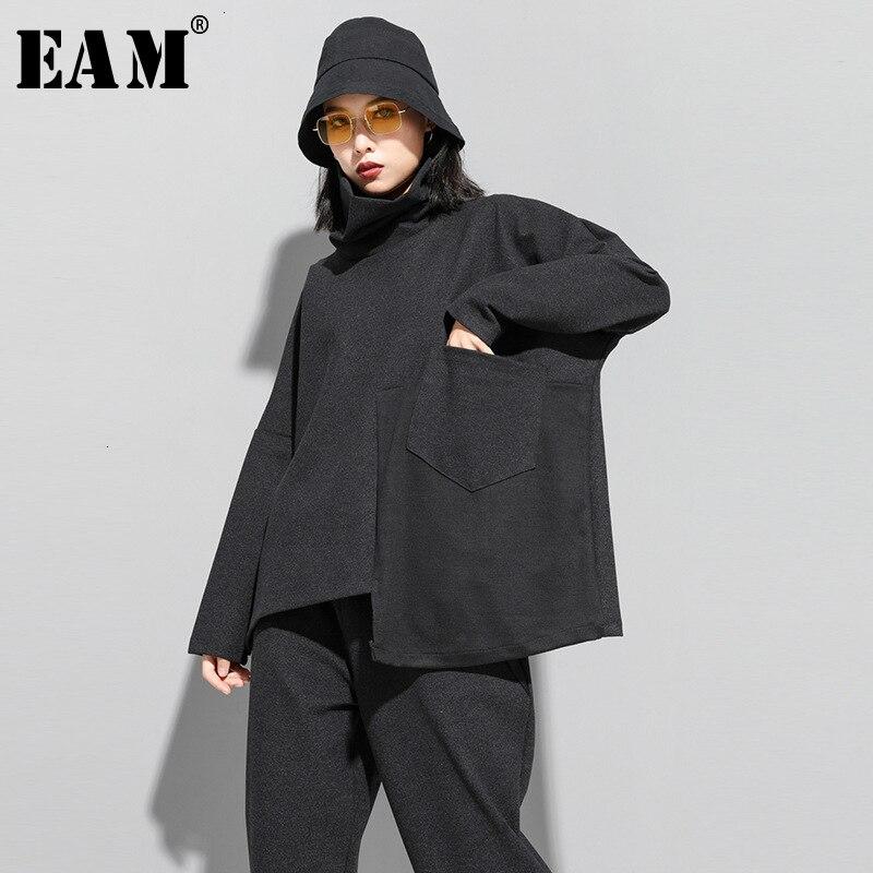 [EAM] Loose Fit Asymmetrical Split Sweatshirt New Turtleneck Long Sleeve Women Big Size Fashion Tide Spring Autumn 2020 19A-a229