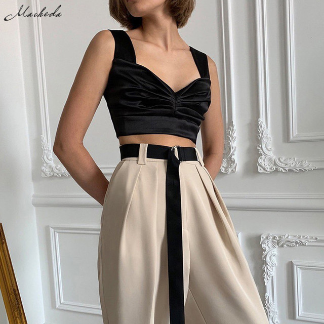 Fashion Slim Solid Cropped Lady Streetwear