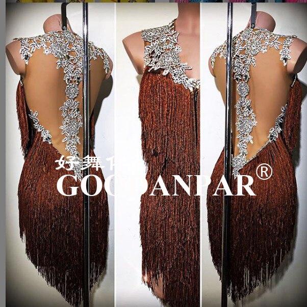 Latin Dance Dress  Latin Dress Sexy Fringes  Short Dress Latin Dacing Dress Chacha Rumba Black Gold Stones Open Back