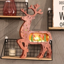 Christmas Light Wooden Luminous Elk Reindeer Ornaments Tree LED Up Decoration For Home Mall Window
