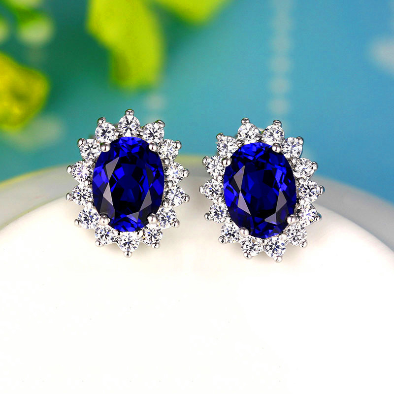 Earrings Aquamarine Ruby Sapphire Sterling-Silver Blue Vintage Women for Red Oval Female title=