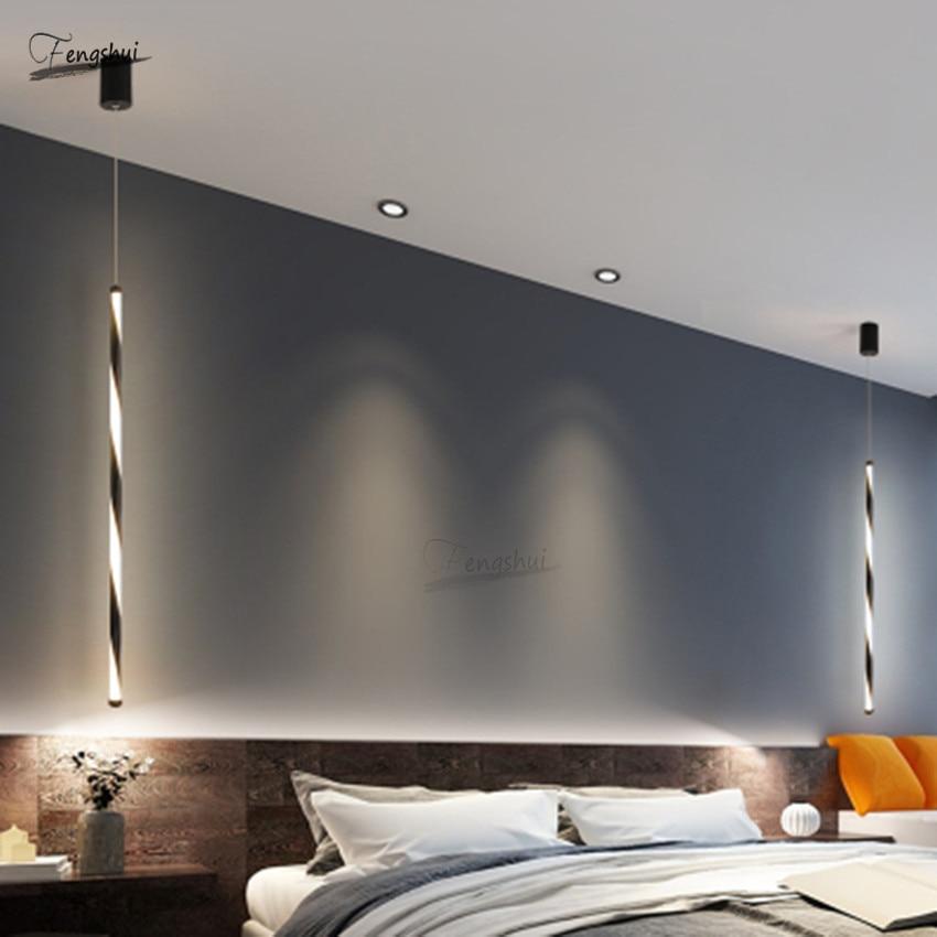 Nordic Minimalist Lines Light Fixture Modern Design LED Cafe Loft Living Dining Room Hanging Lamp Study Bedroom Decor Luminaria