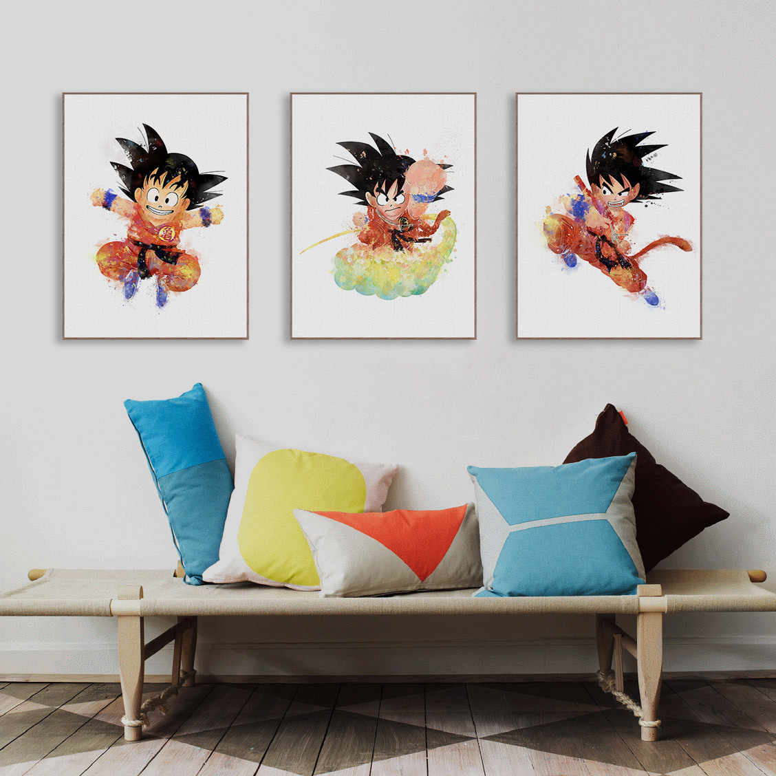 New Watercolor Dragon Ball UnFramed Picture Cartoon Animation Son Goku Kakarotto Japan Decorative Canvas Painting Anime Poster