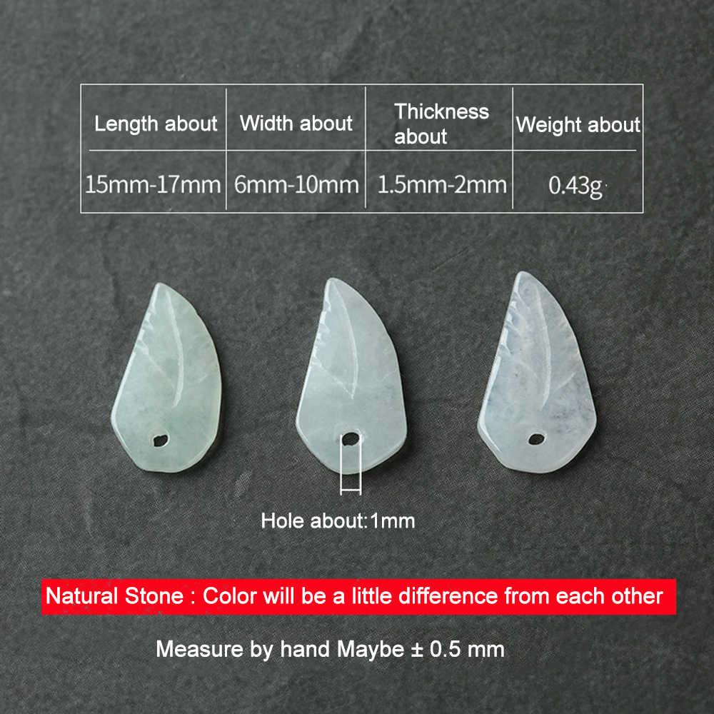 1pcs טבעי ירוק עלה צורת אבן חרוזים להכנת תכשיטי DIY צמיד שרשרת כנף צורת JadeEme/rald עבור DIY 18119