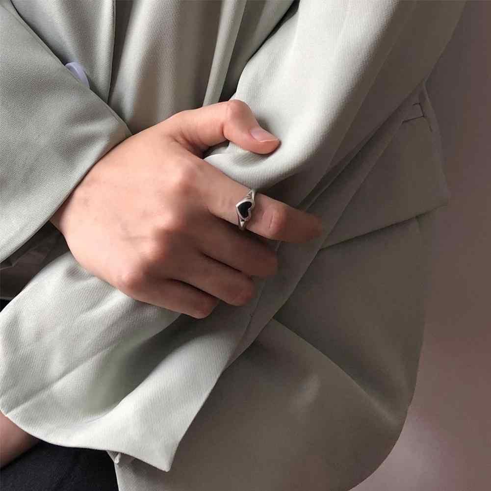 В винтажном стиле, сапоги в панковском стиле, творческий черного цвета с принтом «сердце», «Любовь кольца для женщин Регулируемый подарки для девочек, металлическое ювелирное изделие открытие женские модные вечерние Ri Q1B1