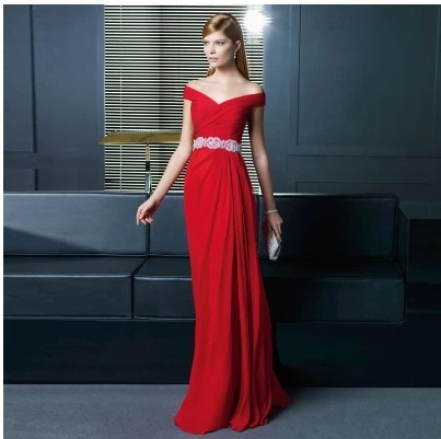 Vestido De Renda Women Party Fashion Crystal Belt V-neck Cap Sleeve Red Long Evening Free Shipping Mother Of The Bride Dresses