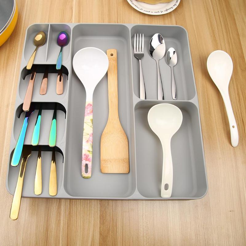 Cutlery Organizer Kitchen Drawer Organizer Tray Spoon Cutlery Separation Finishing Storage Box Tableware Kitchen Accessories