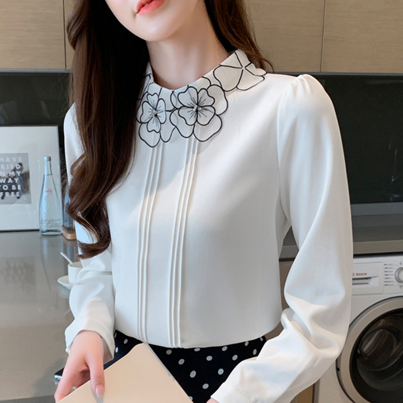 Korean Fashion Chiffon Blouses For Women Elegant Woman Embroidered Blouses OL Floral Shirt Plus Size Blusas Mujer De Moda Blouse