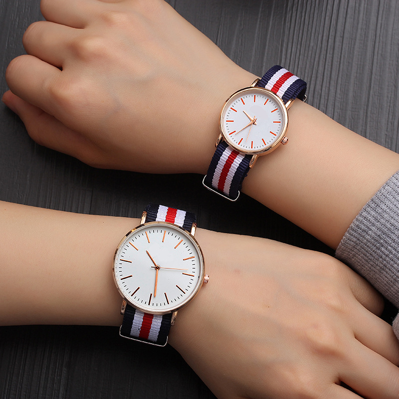 Couple Watches 2019 New Fashion Lovers Hot Selling Quartz Analog Nylon Band Wrist Watch With Number Dropshipping