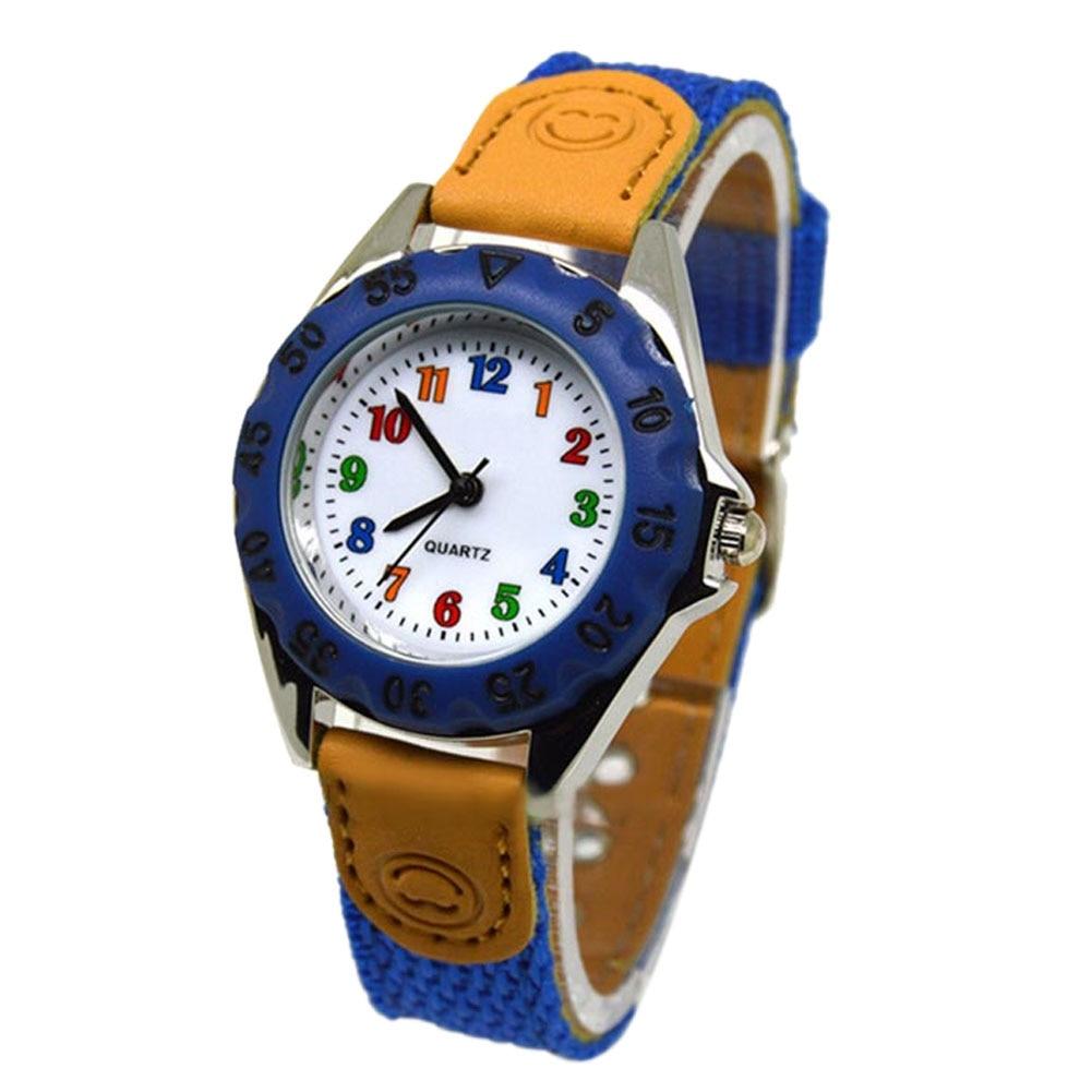 Nette Jungen Mädchen Quarzuhr Kinder kinder Stoff Strap Student Zeit Uhr Armbanduhr Geschenke JAN88