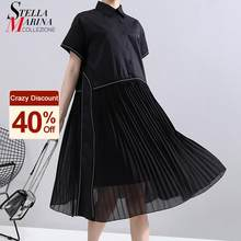 New Fashion Woman Summer Korean Style Black Pleated Shirt Dress Chiffon Patchwork Lapel Ladies Cute Casual Midi Dress Robe 6168