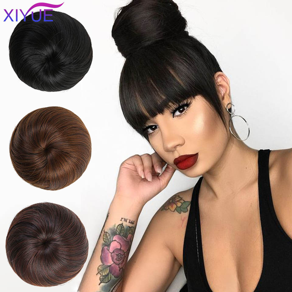 Synthetic Elastic Hair Bun Straight Short Hair Buns Dount Chignon Hairpiece Cover Ponytail Extensions For Women