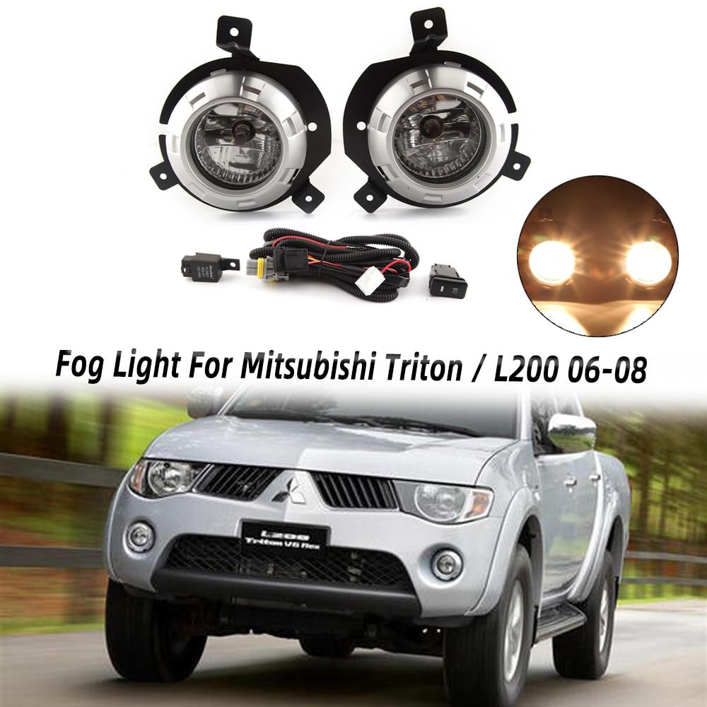 MIZIAUTO Fog Light For Mitsubishi Triton / L200 2006 2007 2008 Fog Lamp with Switch Harness Covers Fog Lamp Kit Car Light