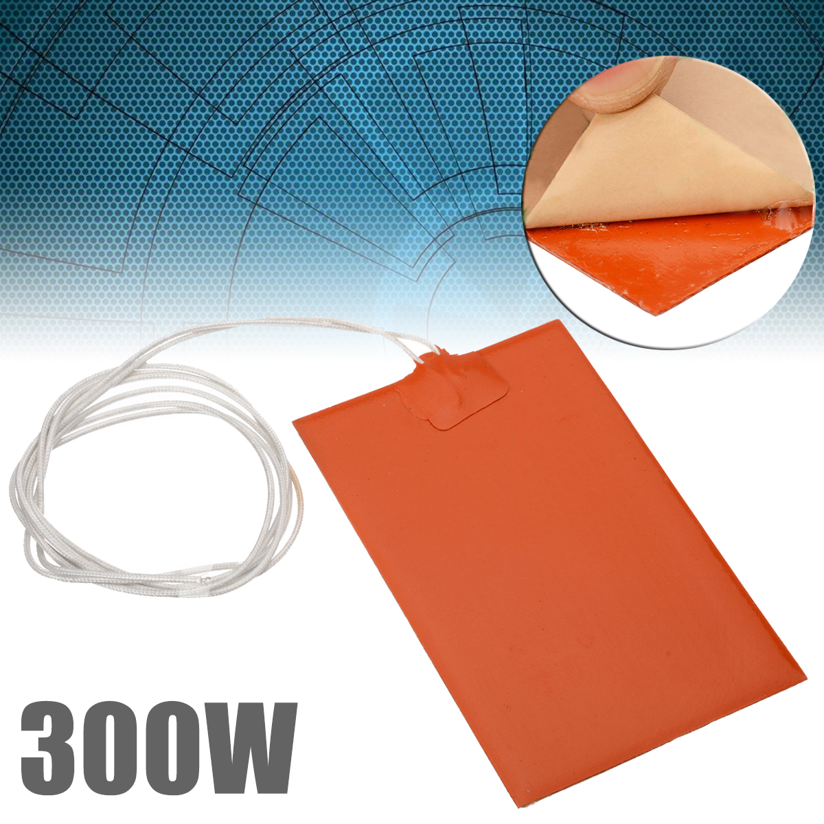 300W 220V Engine Oil Tank Silicone Heater Pad Universal Fuel Tank Water Tank Rubber Heating Mat Warming Accessories 10x15cm