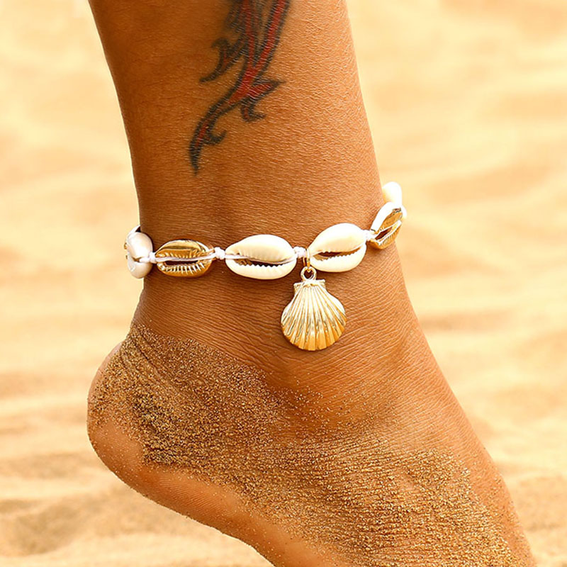 EN Bohemian Natural Shell Conch Rope Anklets For Women Foot Jewelry Summer Beach Barefoot Bracelet Ankle on Leg For Women