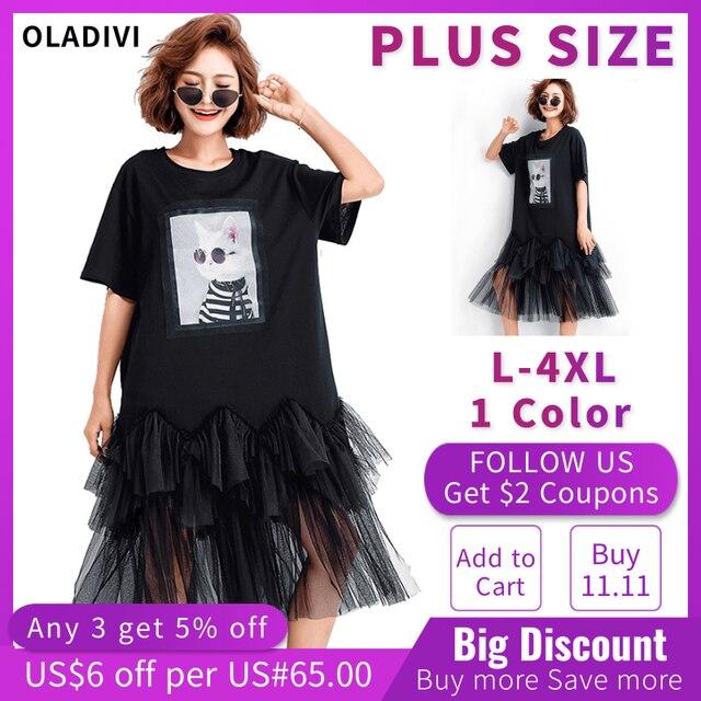 Oladivi Plus Size Women Mesh Shirt Dress Fashion Print Summer Short Sleeve Casual Midi Dresses Female Loose Tunics Black 4XL 3XL