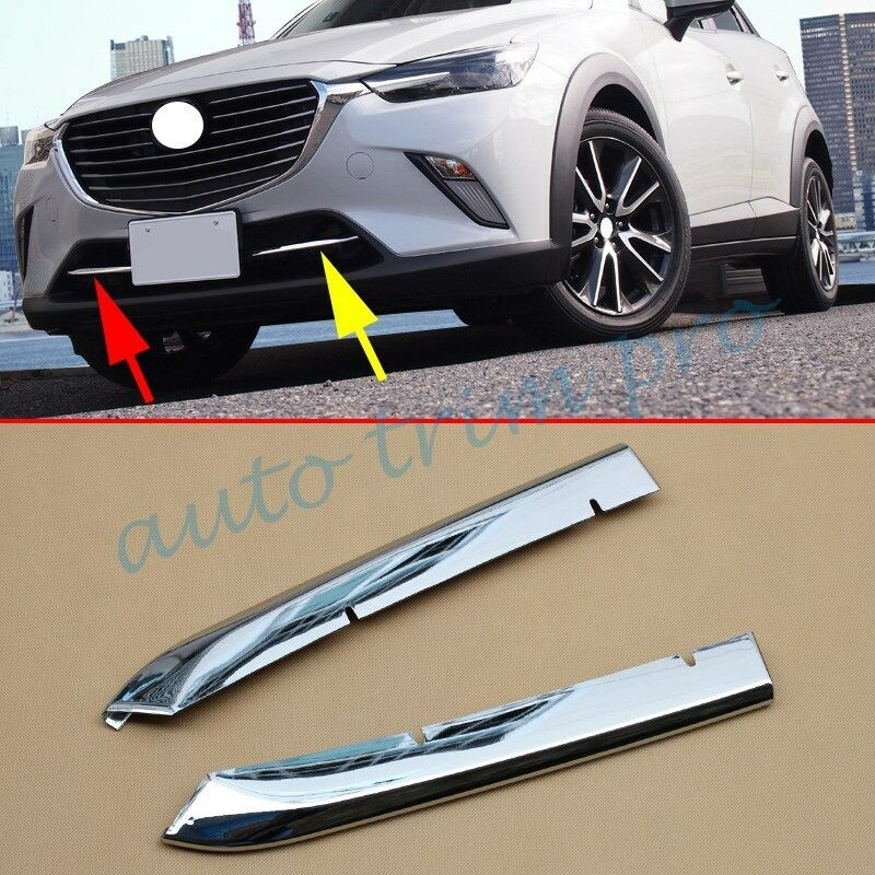 2X Chrome <font><b>Accessories</b></font> Front Head Grille Grill Stripes Cover Trim Fit For <font><b>Mazda</b></font> CX3 DK 2016 2017 <font><b>2018</b></font> 2019 CX-<font><b>3</b></font> Parts image